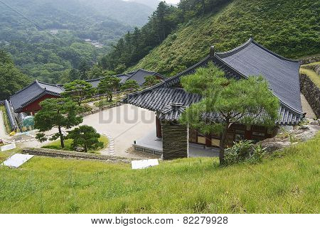 Exterior of the Haeinsa temple complex buildings in Chiin-Ri, Korea.