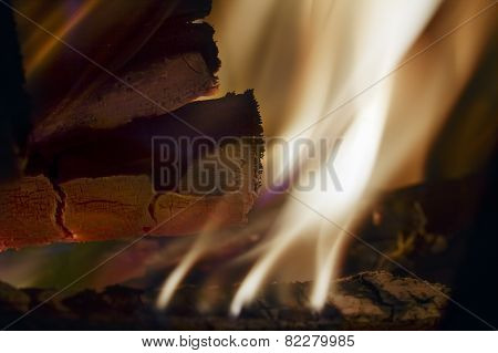 Burning Wood And Cinder