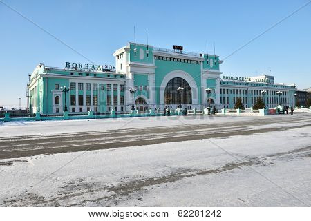 NOVOSIBIRSK, RUSSIA - JANUARY 11, 2015: Building of the main train station. The building completed in 1939 and can accommodate up to 3.9 thousand passengers