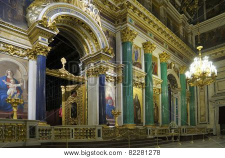 ST. PETERSBURG, RUSSIA - JUNE 30, 2008: Interior of St. Isaacs cathedral. It is the largest orthodox basilica and the fourth largest cathedral in the world