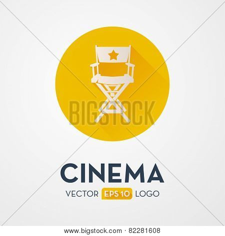 Director`s chair - flat design icon, logo. Symbol of the film production industry.