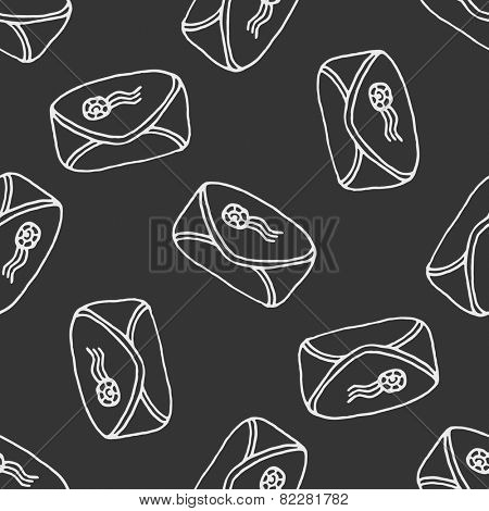 Seamless pattern - freehand drawing of envelope with postal stamp on blackboard background
