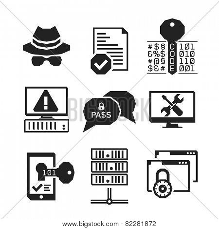 Hacking icons set 01 // BW Black & White