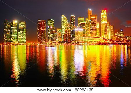 Singapore Downtown At Night