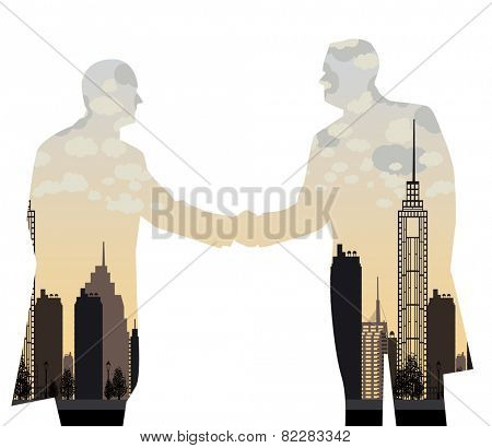 double exposure handshake businessman on city background Vector illustration