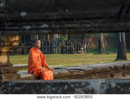 Young monk in Angkor Wat