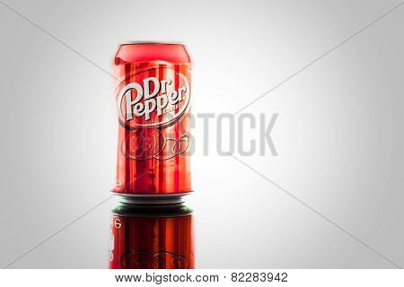 Can of Dr Pepper drink, isolated, vignetting.