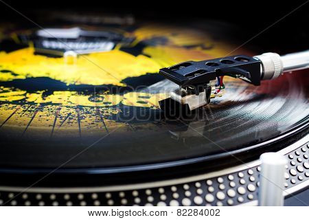 DJ turntable, color vinyl.