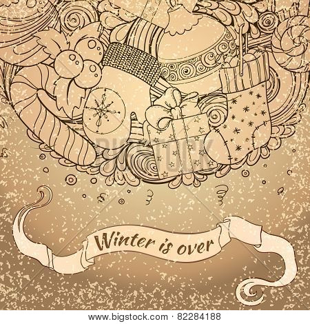 Winter collection. Winter icons vintage circle composition. Vector file organized in layers for easy