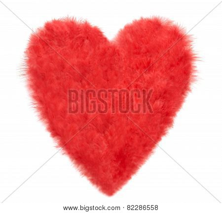 Valentines Heart Shaped Made Of Red Feathers