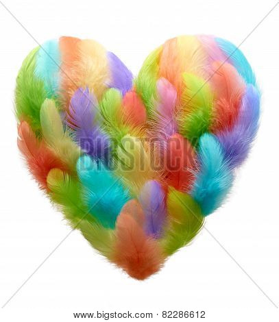 Valentines Heart Shaped Made Of Colorful Feathers