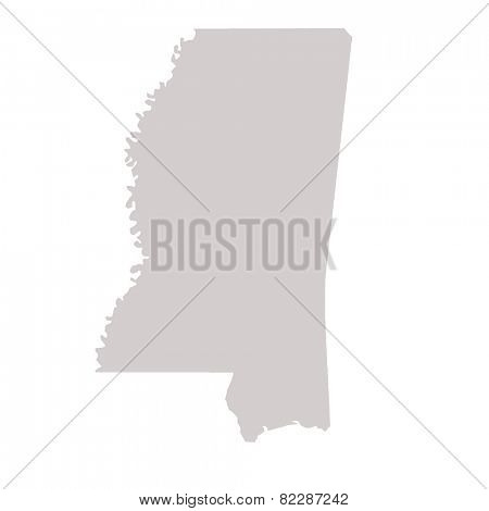 Mississippi State map isolated on a white background, USA.
