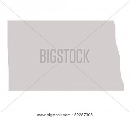 North Dakota State map isolated on a white background, USA.