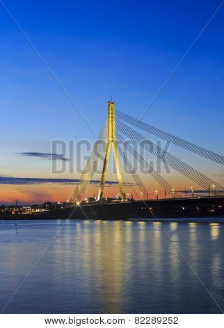 Cable-stayed Bridge At Sunset