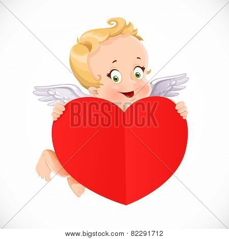 Cute Cupid Flies With A Big Valentine Heart Shaped Red Paper