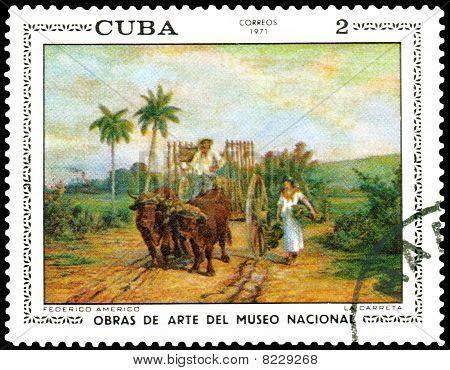Vintage Postage Stamp, Federico Americo, La Carreta