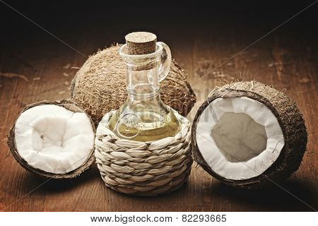 coconut oil  on the wooden background