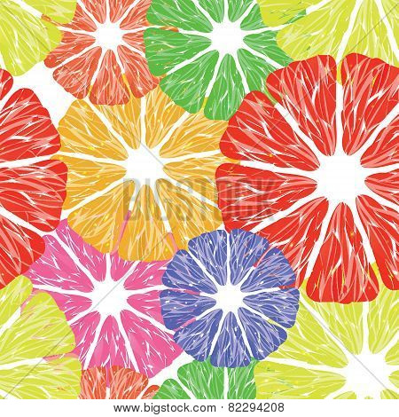 Tasty And Bright Seamless Pattern With Citrus Fruite