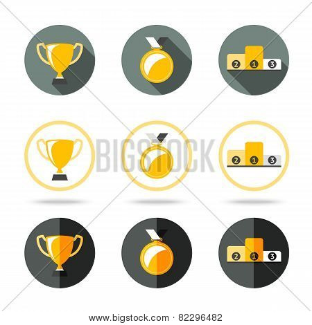 Winners icons set - Cup, Medal and pedestal. Different kinds of flat style. Vector