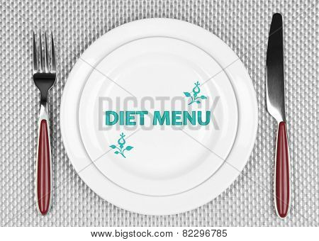 Plate with text Diet Menu, fork and knife on tablecloth background