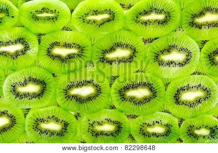 Background Of The Many Kiwi Fruit Slices