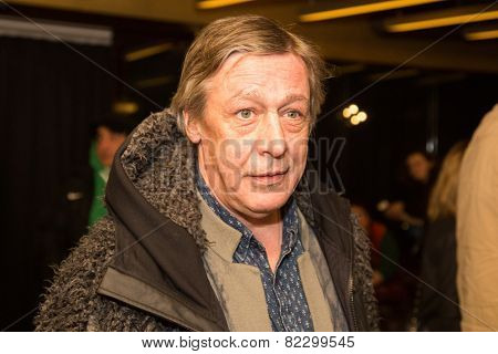 MOSCOW - JANUARY, 28: Actor  Mikhail Efremov. Premiere of the movie Leviathan at Moscow Cinema,  January, 28, 2015 in Moscow, Russia