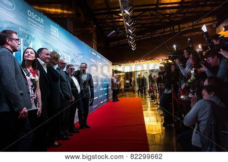 MOSCOW - JANUARY, 28: Film Director A. Zvyagintsev with team. Premiere of the movie Leviathan at Moscow Cinema,  January, 28, 2015 in Moscow, Russia