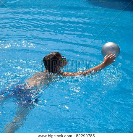 Swimming Pool Background - Open Air Swimming Pool; Cute Little Boy In Googles With Silver Ball
