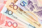 foto of yuan  - Chinese or Yuan banknotes money from China - JPG