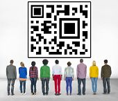 picture of qr-code  - QR Code Identity Marketing Data Encryption Concept  - JPG