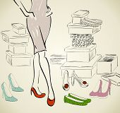 stock photo of shoe-box  - Young woman shopping for fashion shoes - JPG