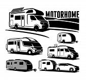 picture of camper-van  - Rv cars Recreational Vehicles Camper Vans Caravans Vector Icons  - JPG