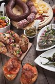 stock photo of antipasto  - Spanish tapas or antipasto food - JPG