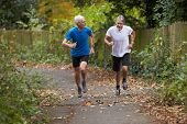 foto of jogger  - Two Mature Male Joggers Running Along Path - JPG