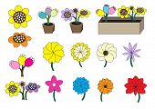 stock photo of flower pot  - cartoon flowers vector illustration set with different flower styles and different flowerpot styles - JPG
