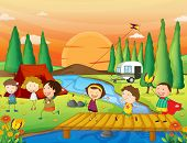 stock photo of kites  - Illustration of children playing kite at the campground - JPG