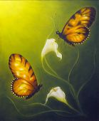 pic of canvas  - A beautiful oil painting on canvas of a butterfly fying towards a Cala flower - JPG