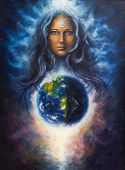 stock photo of canvas  - A beautiful oil painting on canvas of a woman goddess Lada as a mighty loving guardian and protective spirit upon the Earth - JPG