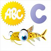 image of catfish  - cute vector comic cartoon animals abc - JPG