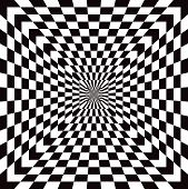 foto of optical  - Classic checkered optical Illusion pattern in black and white repeats seamlessly - JPG