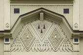 foto of building relief  - Ornamental decoration on the Art Nouveau building in Prague - JPG