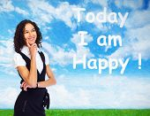 stock photo of think positive  - Positive thinking girl over abstract background - JPG