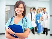 stock photo of medical  - Medical doctor woman over health care background - JPG