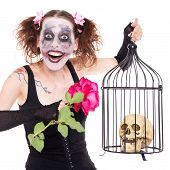 picture of insane  - insane girl with rose and skull in a birdcage - JPG
