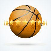 foto of basketball  - Vector illustration of symbol basketball ball with golden stars - JPG