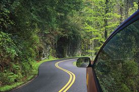image of smoky mountain  - Driving through the winding roads of the Great Smoky Mountains National Park Tennessee USA - JPG