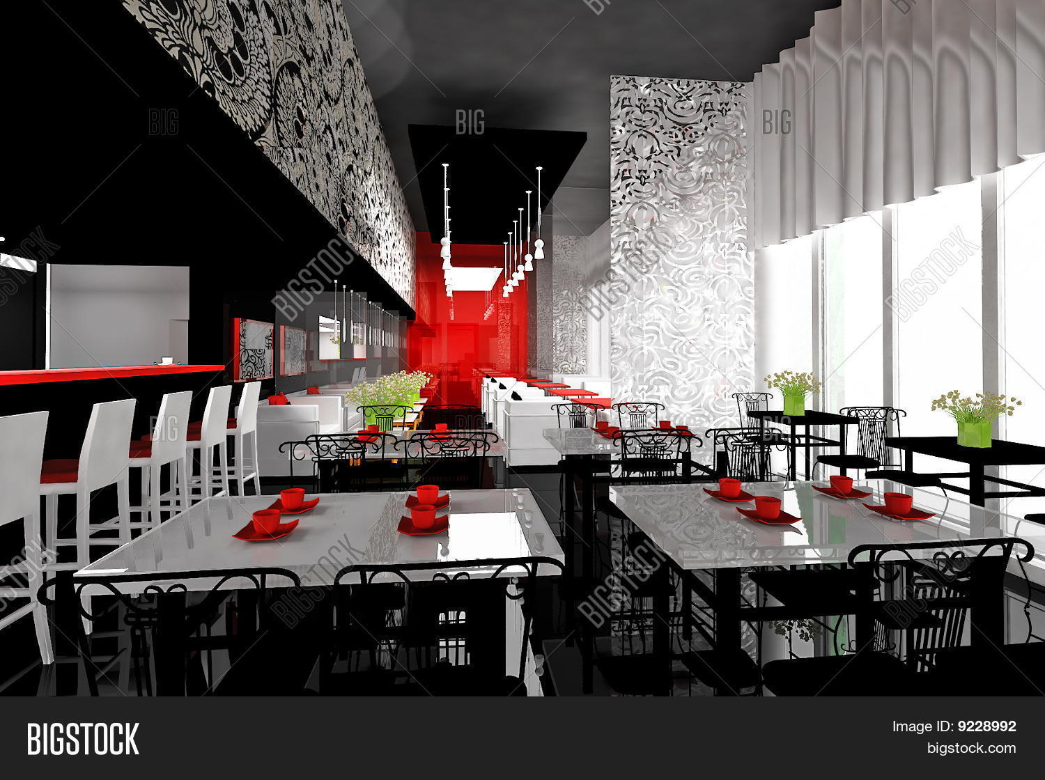 nice restaurant interior in red and black colors stock photo