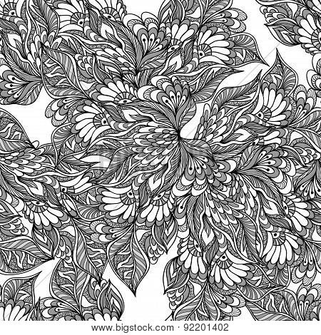 Seamless pattern with doodle flowers in grey