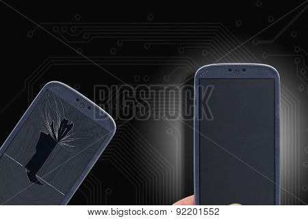 Blue smartphone with broken and fixed glass and lcd on a circuit background. Idea for fixing smartphones, technical assistance, replacement and others.