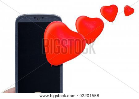 Blue smartphone and red heart balloons. Idea for Valentines Day calls, love, lovers, love apps, Internet, blogs and others.